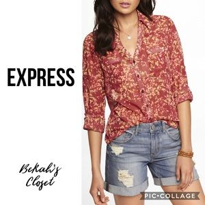 Express red floral sheer blouse